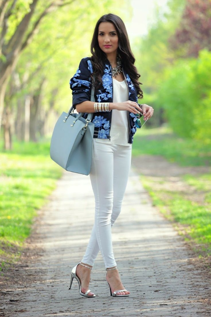 Floral Bomber Jacket Paired With White Pictures, Photos, and ...