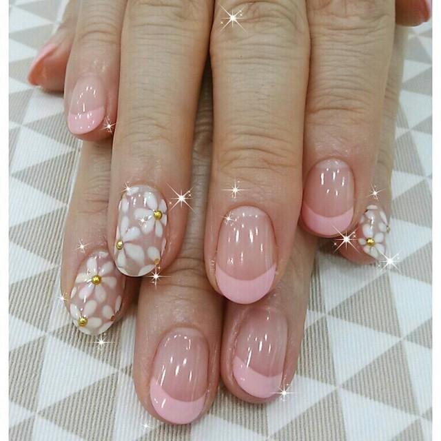 Pink Fl Acrylic Nails