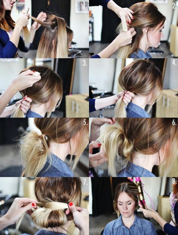 Как сделать небрежный пучок из волос с