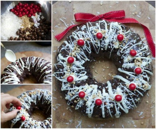Rocky Road Christmas Wreath Cake