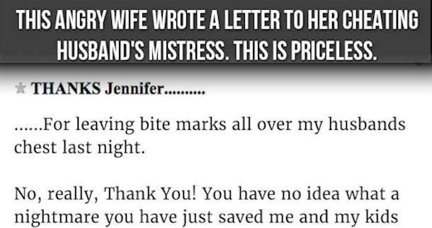 Cheating Husband Quotes Amazing This Angry Wife Wrote A Letter To Her Cheating Husbands Mistress