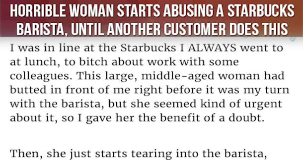 Horrible Woman Starts Abusing A Starbucks Barista Until ...