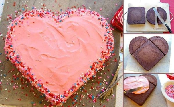 How to make a valentine 39 s day heart cake for Valentine cake recipes with pictures