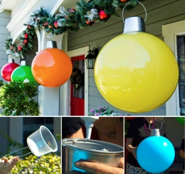all you need are kids play balls from walmart and a plastic container bring in the holidays with these giant ornaments for your home