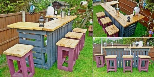 how to build a garden bar out of pallets