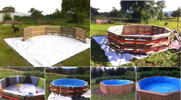 Learn how to make a beautiful swimming pool out of 10 pallets - How to build a swimming pool out of wood ...