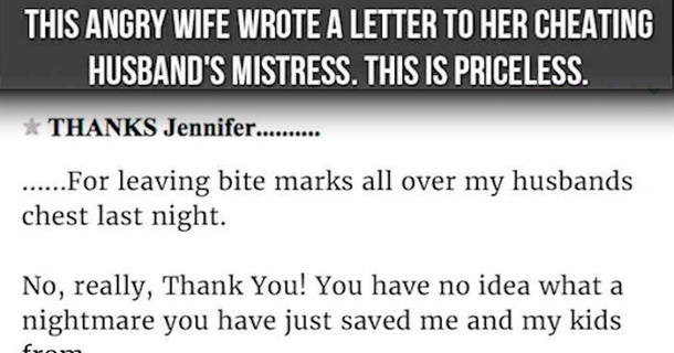 An Angry Wife Wrote A Letter To Her Cheating Husband's