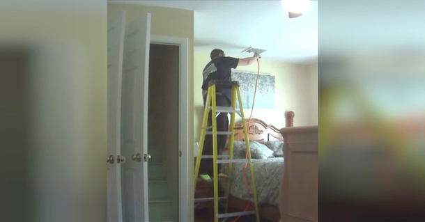 hidden camera catches the a c repairman doing this in her bedroom