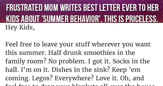 Frustrated Mom Writes Best Letter Ever To Her Kids About