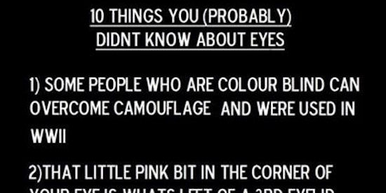 10 Things I Know About You: 10 Things You Probably Did Not Know About Your Eyes
