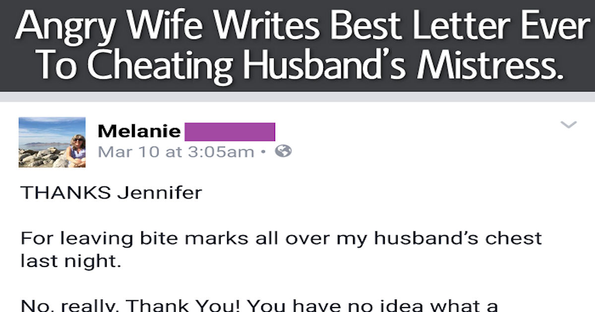 Cheating Husband Quotes Amusing Angry Wife Writes Best Letter Ever To Cheating Husband's Mistress