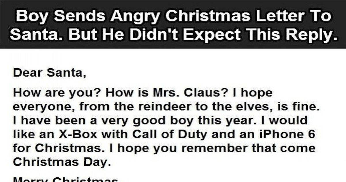 Boy sends angry christmas letter to santa but he did not expect this boy sends angry christmas letter to santa but he did not expect this reply pictures photos and images for facebook tumblr pinterest and twitter spiritdancerdesigns Image collections