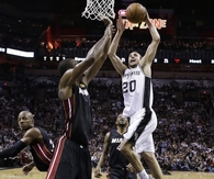 Ginobili Goes Hard to the rack, DUNK, Dunking over Bosh