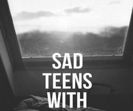 Sad teens with happy faces