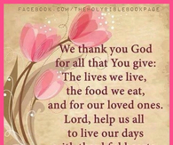 We thank you God