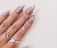 SIlver Glitter stiletto nails