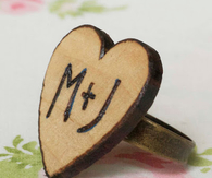 Wood burned heart ring DIY