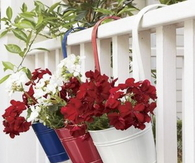 Red, White & Blue Bucket Planters