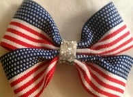 BOW TIE  AMERICAN FLAG  SILVER GLITTERED CENTER Double Bow