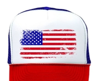 American Flag  Retro Vintage Patriotic 4th of July Trucker Cap