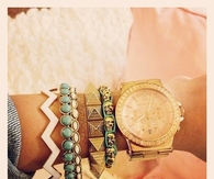 Gold Watch with Colorful Bracelets
