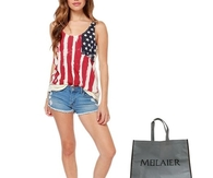 Meilaier Womens Casual Stars and Stripes Shirts Tank Tops
