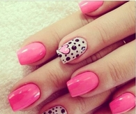 Pretty Pink Nails with a Single Polka Dotted