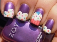 Cute Purple Cupcake Nails