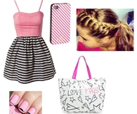 Cute Pink & Black & White Summer Dress with Accessories