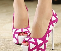 Pink & White Open Toe High Heels