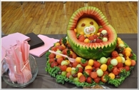 Baby Shower baby in crib fruit basket