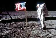 USA Flag and Buzz Aldrin Pose on the Moon