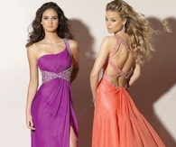 One Shoulder Beading Sweep Train Formal Dresses