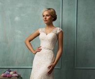 Lace Cap Sleeve V-neck Illusion Back A-line Wedding Dress