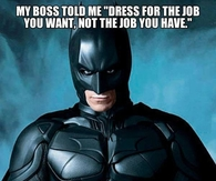 Batman in a disciplinary meeting