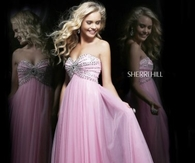 Pink Sherri Hill 11089 Beaded Empire Prom Dress