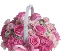 Basket of Pink Roses & Hydrangeas