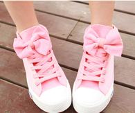Pink bow tie shoes