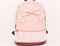 Leather lace backpack with bow