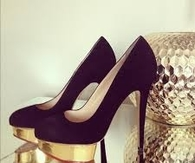 Black & Gold Platform Pumps