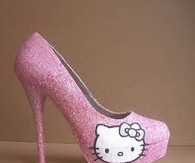 Cute Hello Kitty Glitter Heels