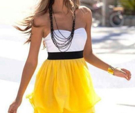 Strapless Summer Dress with Yellow Skirt