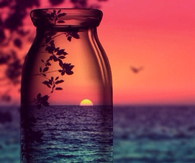 Sunset View through a Glass Bottle