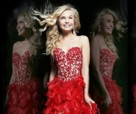 Red Corset Sherri Hill 11039 High Low Ruffle Prom Dress