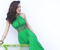 Long Emerald Beaded High Neck Open Back Prom Dresses 2014