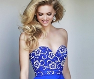 Royal Strapless Floral Beaded Bodice Short Party Dress 2014