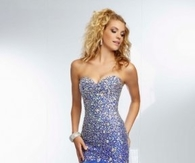 2014 Royal Blue Beaded Ruffled Mermaid Prom Dress