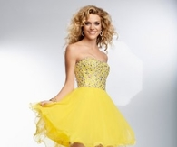 Dazzling Yellow Short Strapless Beaded Prom Dresses