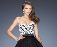 Black White La Femme 20201 Stunning Strapless Prom Dress