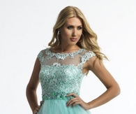 Sequined Aqua High Neck Illusion Lace Short Prom Dress